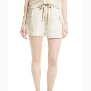 New VINCE Size S drawstring utility shorts cream